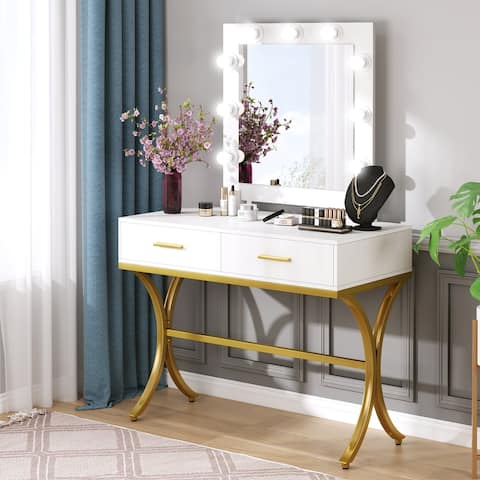 Vanity Table with Lighted Mirror and 2 Drawers for Women Girls