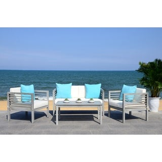 Link to Safavieh Outdoor Living Alda Grey Wash/White/Light Blue 4 Pc Set With Accent Pillows Similar Items in Outdoor Sofas, Chairs & Sectionals