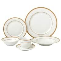 Lorenzo Import LH431 24 Piece Porcelain Dinnerware Service, Gold - for 4 Josephine