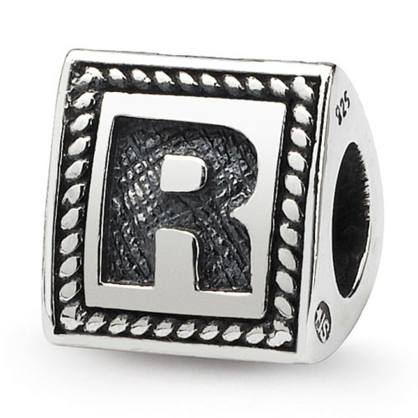Sterling Silver Reflections Letter R Triangle Block Bead (4mm Diameter Hole)