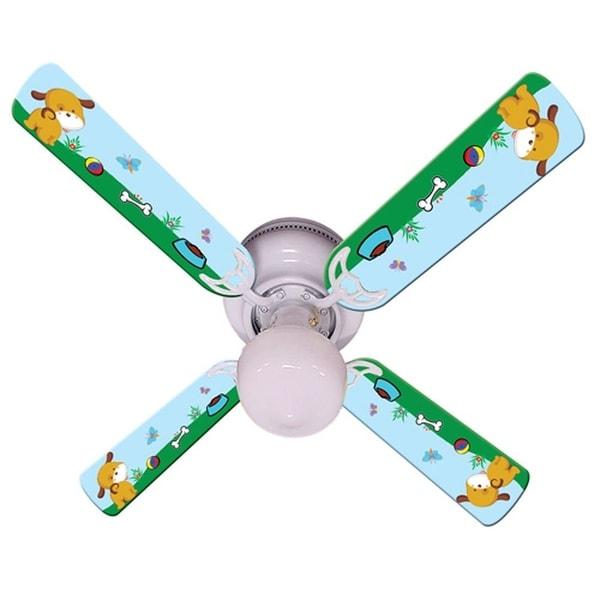 Puppy Dog Print Blades 42in Ceiling Fan Light Kit - Multi