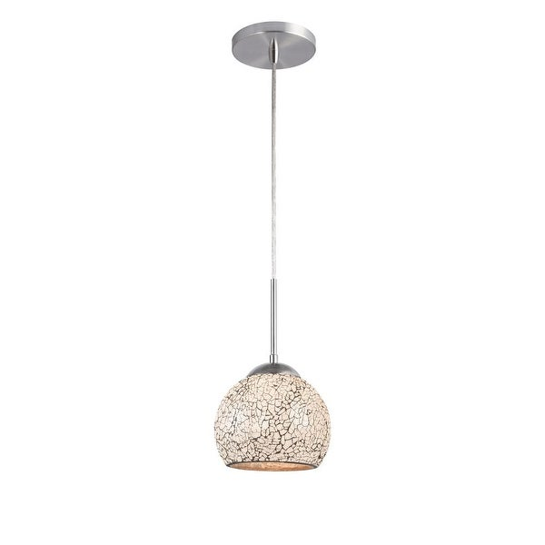 "Woodbridge Lighting 13623STN-M00WHT 1-Light 7"" Wide Single Pendant - satin nickel"