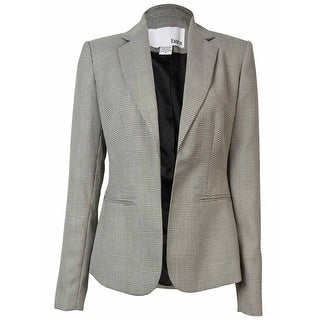 Bar III Women's Plaid Open Front Blazer - WHITE/BLACK