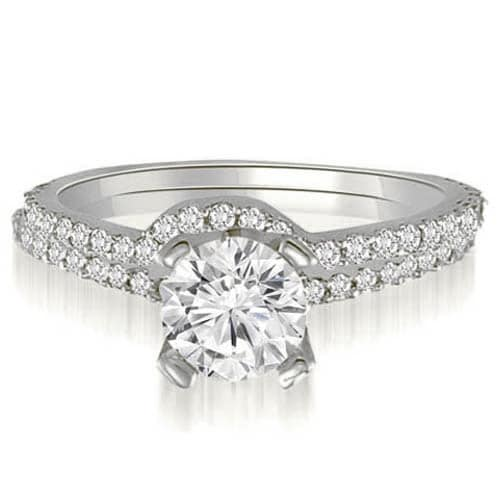 1.07 cttw. 14K White Gold Classic Petite Round Cut Diamond Bridal Set