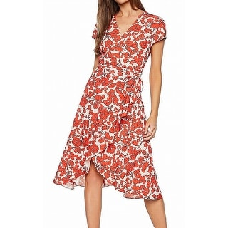 Link to Bardot Womens Dress Red Size 8 (M) Faux-Wrap Floral Belted Ruffle-Hem Similar Items in Dresses