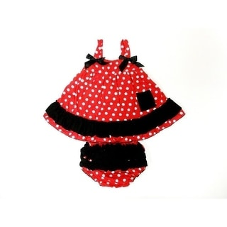 Red White Polka Dot Sleeveless Cotton Swing Top Set Girl S-L