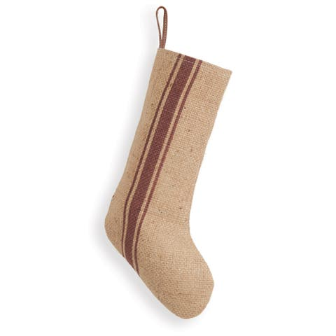 Vintage Burlap Striped Stocking - 8''W x 16''H