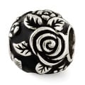 Sterling Silver Reflections Black Enameled Floral Theme Bali Bead (4mm Diameter Hole) - Thumbnail 0