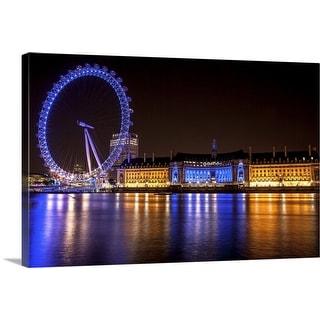 """London Eye and County Hall at night, London, England"" Canvas Wall Art"