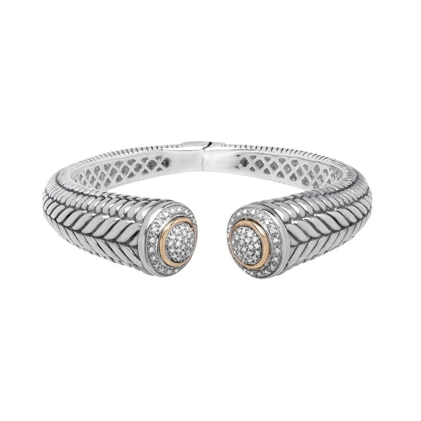 1/2 ct Diamond Hinged Bangle Bracelet in Sterling Silver & 14K Gold