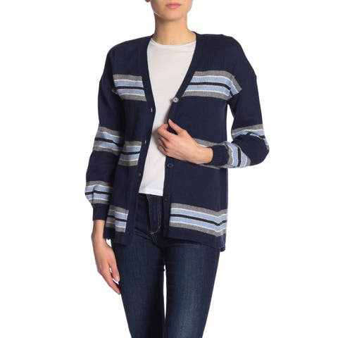 Democracy Blue Women's Medium M Striped Girlfriend Cardigan Sweater