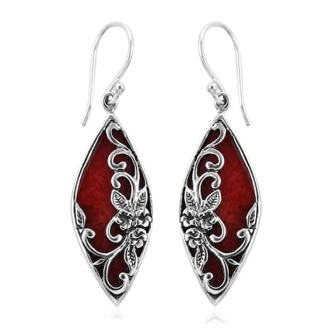 925 Sterling Silver Sponge Coral Dangle Earrings