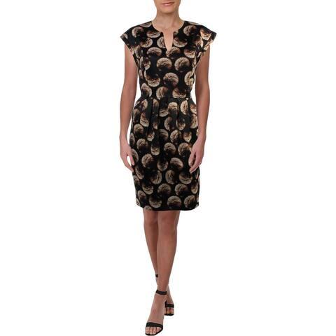 Halston Heritage Womens Casual Dress Pleated Notch Neck - Black Firework Dots - 8