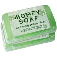 Money Soap - Real Cash in Every Delightfully Scented Bars - Set of 2 - Green