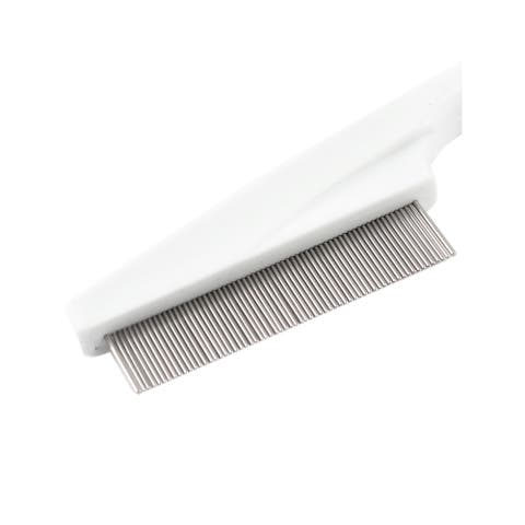 """Pet Dog Doggy Metal Teeth Massaging Grooming Rake Comb Trimmer White - Silver Tone, White - 5.5"""" x 1.2"""" x 0.4"""" (L*W*T)"""