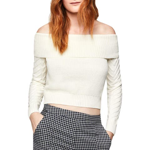 BCBGeneration Womens Sweater Off-the-Shoulder Cable Knit