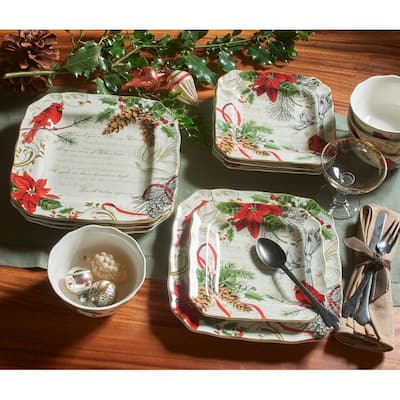 222 Fifth Holiday Wishes 12 Piece Dinnerware Set, Red