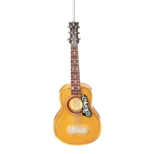 "7"" Gold Acoustic Guitar Christmas Ornament"