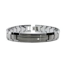Tungsten Carbide ID Bracelet with CZ