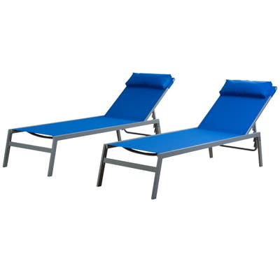 Kozyard Wilson Adjustable Wrought Iron Frame Seat Chaise Lounge Chair (2 Pack)