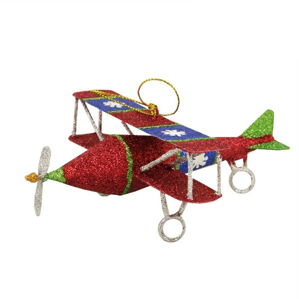 "5"" Glitter Drenched Snowflake Accented Biplane Christmas Ornament - green"