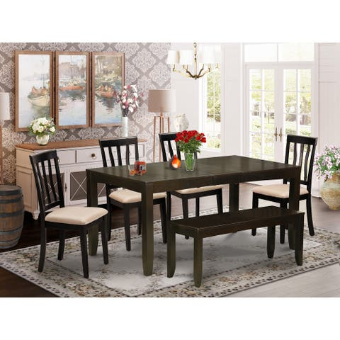 East West Furniture 6 PC Dining set with bench-Table and 4 Dining Chairs Bench - Cappuccino Finish (Pieces Option)