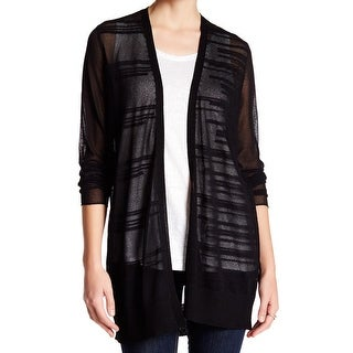 Eileen Fisher NEW Black Womens Large L Burnout Stripe Cardigan Sweater