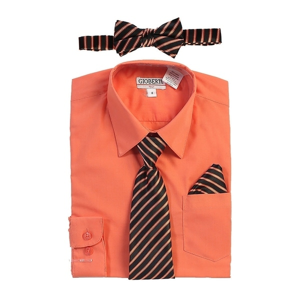 32af18fd8773e Shop Gioberti Boys Coral Shirt Necktie Bow Tie Pocket Square 4 Pc Set -  Free Shipping On Orders Over $45 - Overstock - 28296241