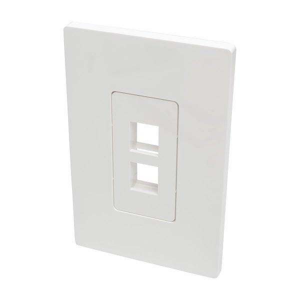 Tripp Lite Single-Gang 2-Port Universal Keystone Wall Plate, Cat5/6/6A, Usb, Hdmi, Displayport, Rca, White (N080-102)