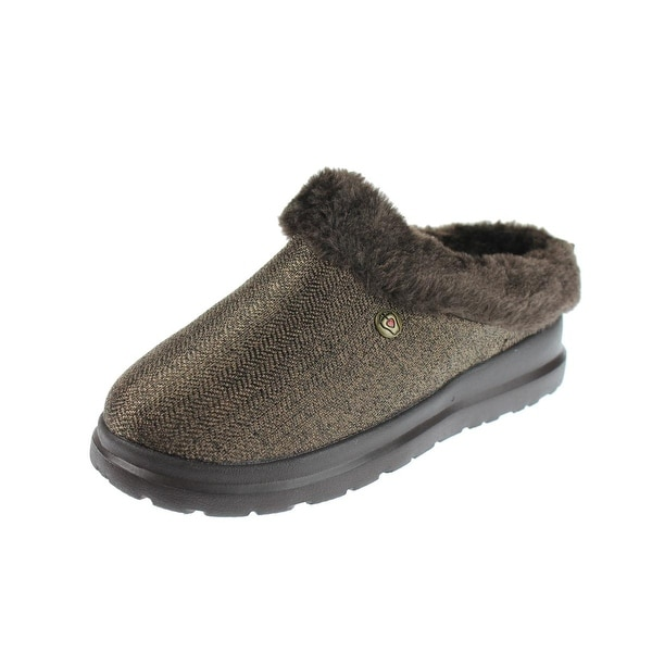 Skechers Womens Cherish Cuddlers Scuff Slippers Herringbone Memory Foam