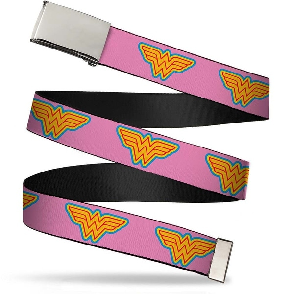 Blank Chrome Buckle Wonder Woman Logo Pink Blue Yellow Pink Webbing Web Belt