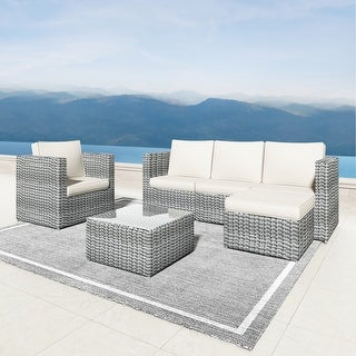 Corvus Treitz 6 Piece Outdoor Wicker Sectional Deep Seating Sofa Set with Glass Top