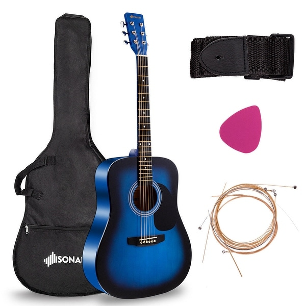 shop costway sonart 41 acoustic folk guitar 6 string w case strap pick strings for beginners. Black Bedroom Furniture Sets. Home Design Ideas