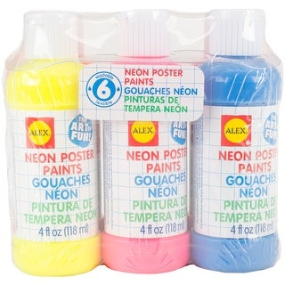 Washable Neon Poster Paint 6/Pkg-