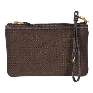 Prada Women's INH013 Piatto Maniglia Brown Canvas Small Wristlet Purse - Beige