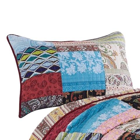 Stikine 26 x 20 Cotton Standard Pillow Sham with Patchwork Details, Multicolor
