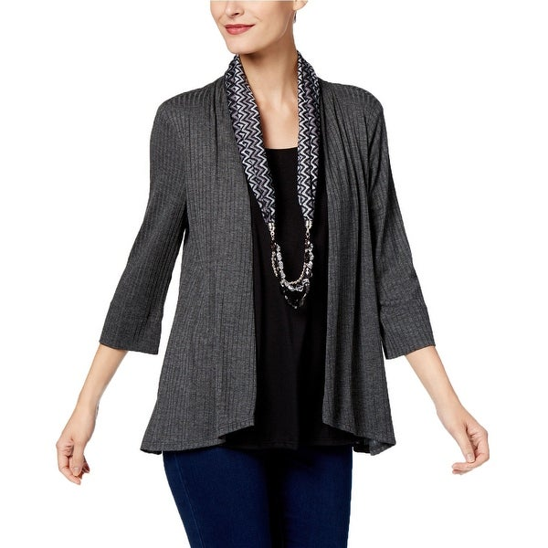 NY Collection Gray Women's Size Small S Embellished Scarf Knit Top