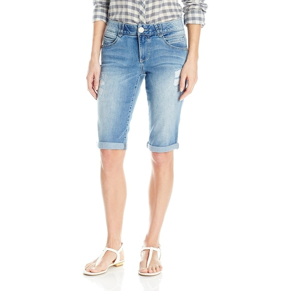 84c41f7752 Shop Democracy Blue Womens Size 14 Denim Distressed Bermuda Shorts ...