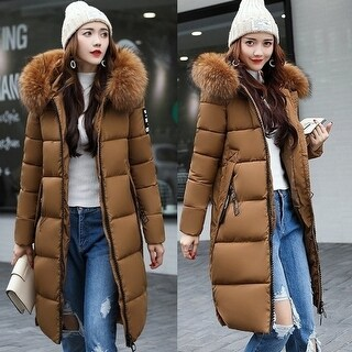 Women Long Warm Coat Faux Fur Hoodies Parkas Woman Wadded Down Jackets Cotton Clothing Plus Size