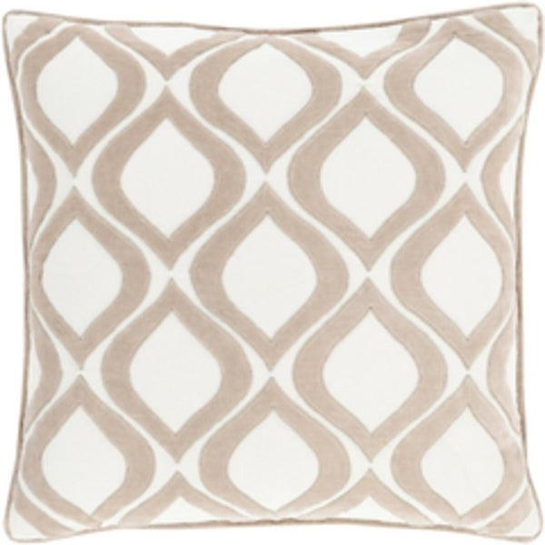 "22"" Rounded Diamonds Sandy Beige and Pale White Decorative Throw Pillow - Down Filler"