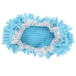 Indoor Chenille Floor Cleaning Tool Mopping Shoes Cover Socks Slipper Mop Blue