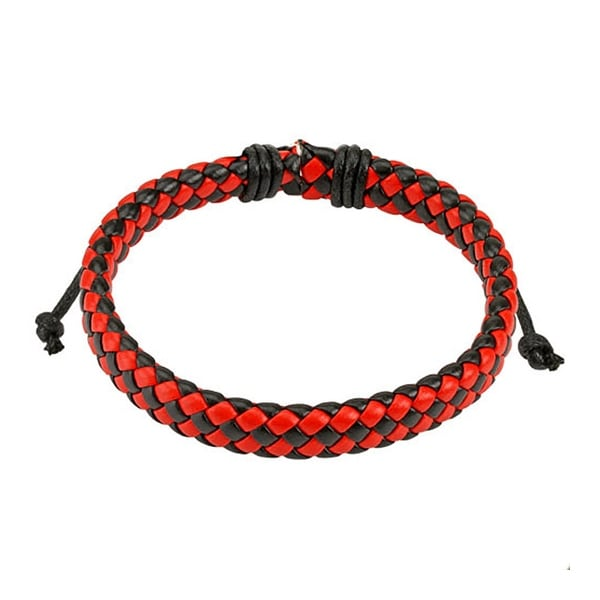 Black and Red Diagonal Checker Weaved Leather Bracelet with Drawstrings (9 mm) - 7.5 in