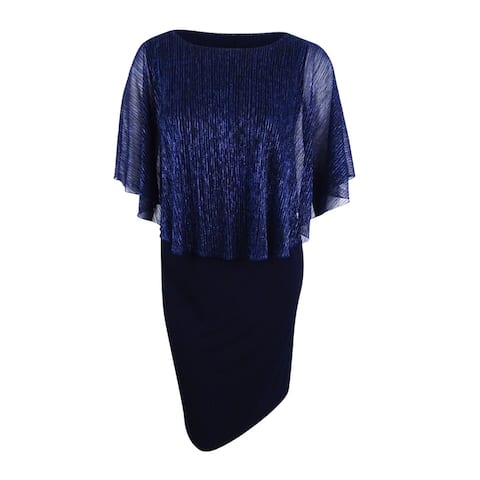 Connected Women's Plus Size Metallic Illusion-Overlay Gown