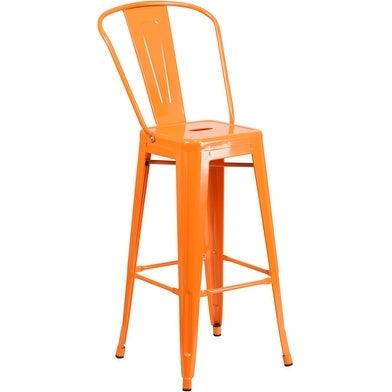 Collins 30'' High Orange Metal Indoor/Outdoor/Patio/Bar Barstool w/Back