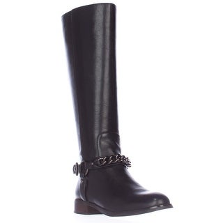 Coach Mabel Chain Ankle Strap Riding Boots - Black
