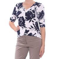 INC Womens Navy Floral 3/4 Sleeve V Neck Button Up Top  Size: M