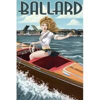 Ballard Seattle WA Pinup Girl Boating - LP Artwork (100% Cotton Towel Absorbent)