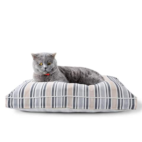 """Neutral Striped Pillow Dog and Cat Bed with Removable Cover - 24"""" x 36"""" x 3"""""""