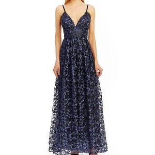 Nicole Miller NEW Blue Women's Size 12 V-Neck Soutache Gown Dress