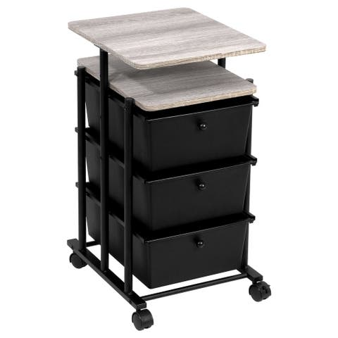 3-Drawer Cart Adj Height, Matte Black and Wood Grain Laminate Top